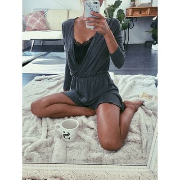 Plunged Charcoal Romper