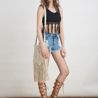 Beige Fringe Crochet Cross Body Bag
