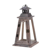 Elevate Pyramid Rustic Pine Wood and Iron Candle Lantern