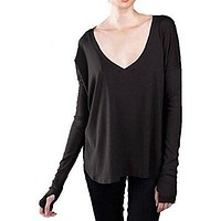 Ladies Spandex Oversized V-Neck Shirt with Thumb Holes - Made in America