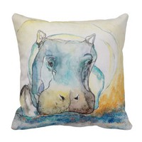 Water Color of Hippo Throw Pillow
