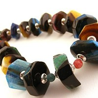 Colorful Gemstone Chunky Necklace with Crackle Agate Slices Multi Color Rough Cut Long Statement Jewelry