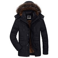 Fashion Men Bomber Jacket Fur Hooded Military Jackets Men Winter Clothes Windproof Windbreaker Thick Warm Coat jaqueta masculina