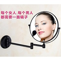 Antique folding bathroom makeup sided mirror retractable folding magnifier beauty mirror Black