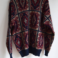Blue and Red Aztec Sweater for Men and Women by Harve Benard Size Large
