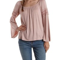 Mauve Crochet-Trim Bell Sleeve Top by Charlotte Russe