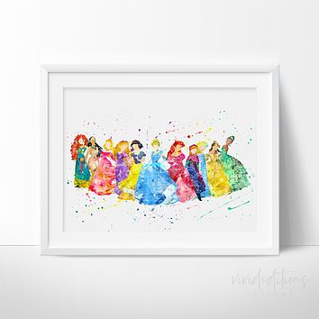 Disney Princesses Watercolor Art Print 2