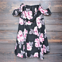 mystic floral off the shoulder strapless chiffon dress
