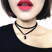 2016 New Fashion Multilayer Black Imitation Leather Choker Necklace Gothic Chain Charm Gem Pendant Vintage Jewelry Free shipping