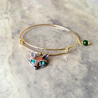 Jade Fox Gold Bangle Bracelet Alex and Ani style with Charms