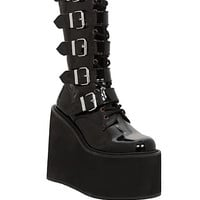 Demonia Swing Black Patent Buckle Strap Boots | Hot Topic