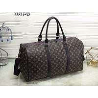 LV Louis Vuitton street fashion men and women classic old flower travel bag shoulder shoulder diagonal coffee print