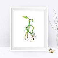 Pickett Bowtruckle Art Print Watercolor Fantastic Beasts Harry Potter Gifts Printable Fantastic Beasts Where to Find Them Instant Download