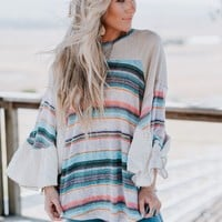 Together Again Bell Sleeve Top - Natural