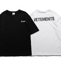 Justin Bibi vetements loose oversized short sleeve staff black and white t-shirt [85043478540]