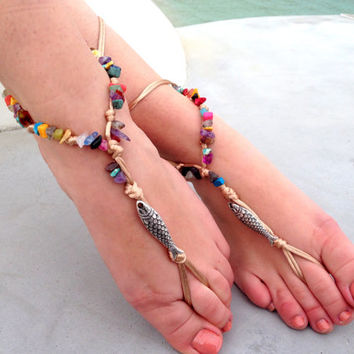 Barefoot sandals. beaded sandals, silver fish boho barefoot sandles, crochet barefoot sandals, , yoga, anklet hippie shoes