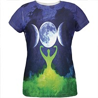Wiccan Moon Goddess Mother Earth Symbol All Over Womens T Shirt