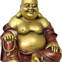 Happy Buddha Ho Tai Seated Statue 7H, Gold and Red