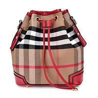 Designer Brand High Quality Canvas Bucket Handbags England Style Composite Bag Plaid Soft Surface  Women's Messenger Bag M117