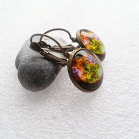 GALAXY earrings gift idea for her for kid for girl gift package glass green orange