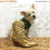 DECEMBER SALE Vintage GOLD Dust Glam Rock Boots || Gold Metallic Cowboy Western Boots || Size 7
