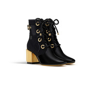 Crinkled black lambskin leather & canvas ankle boot, 7 cm - Dior