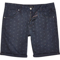 River Island MensDark grey star print rolled up shorts