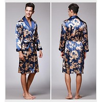 Luxurious Sexy Male Kimono Mens Silk Satin Pajamas for Men Bathrobe Gold Dragon Sleepwear Dressing Gowns Pijama Hombre D7-AE-63