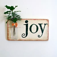 Wall Flower Vase, Joy, Christmas Decor, Signage, Christmas Gift, Home Decor, Antique Bottle
