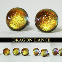 Dragon Dance Color Shifting Stainless Steel Post Earrings