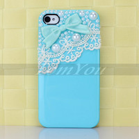 Pretty Cute Sweet Bow + Lace + Smooth Pearl Hard Cover Case Skin For iPhone 4 4S