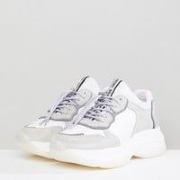 Bronx White & Gray Suede Chunky Platform Sneakers at asos.com
