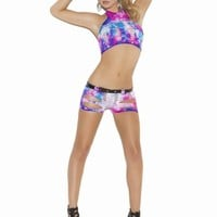 Multi Color Vivace Neon Tie Dye Cami with Matching Booty Shorts