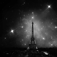 Eiffel Tower Paris Photography, Dark, Black, White, Stars, Spring, Romantic, Wedding, wall decor