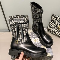 Dior CD new style picture-mother stitching leather boots fashion ladies mid-tube shoes