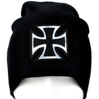 Black and Silver Iron Cross Beanie Gothic Knit Cap Alternative Clothing