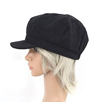 Black Faux Wool Thick Panel Bohemian Chic Newsboy Cabbie Cap Hat
