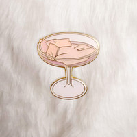 Champagne Glass Bed Lapel Pin
