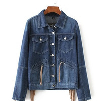 SIMPLE - Fashion Women Tassel Jeans Outerwear Jacket a13205