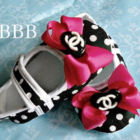Polka dots  hot pink bow CC baby girl crib shoes, Channel inspired baby shoes ,Ready to ship.