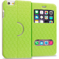 Neon Green Slim Hard Wallet Flip Case Cover With Double Window for Apple iPhone 6 6S (4.7)
