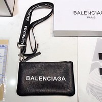 Balenciaga High Quality Fashion Women Men Zipper Leather Purse Wallet Mobile Phone Package Crossbody Satchel Black