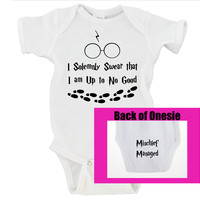 I Solemnly Swear That I Am Up To No Good / Mischief Managed on Bum Gerber Onesuits ®