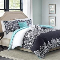 5pc Adorable Teen Girl Black Teal Damask Full Queen Comforter Set
