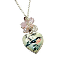 Heart Bird Charm Locket Necklace, Beaded Cluster Charm Necklace