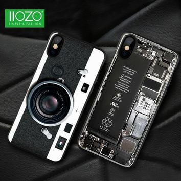 Ultra Thin 3D Old Vintage Styles For iPhone X Case Cool Pattern Broken Camera Tape Phone Case For iphone X10 Protective Shell