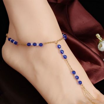 Stylish Ladies New Arrival Gift Shiny Jewelry Sexy Cute Accessory Mediterranean Sea Sea Crystal Handcrafts Anklet [6768802055]
