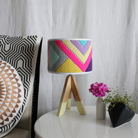 Colourful hand woven round Lampshade - Geo Series in Sherbet