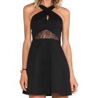 BCBGeneration Fit & Flare Keyhole Dress in Black
