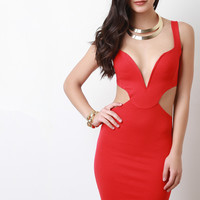 Plunging V Wired Neck Side Cutout Midi Dress